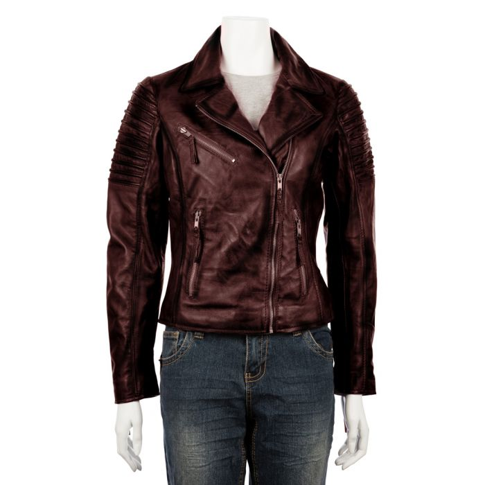 Image for Womens asymmetric burgundy biker jacket