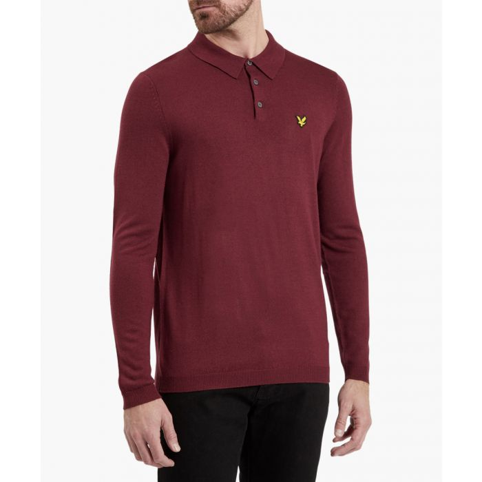 Image for Claret wool blend long sleeve polo shirt