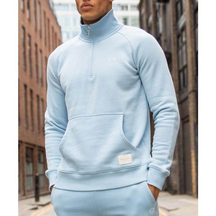 Image for Ice blue cotton blend semi-zip sweater
