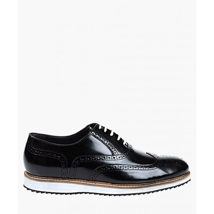 Image for Black and white leather contrast brogues