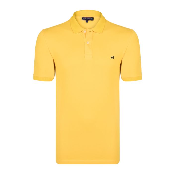 Image for Yellow cotton short sleeve polo shirt