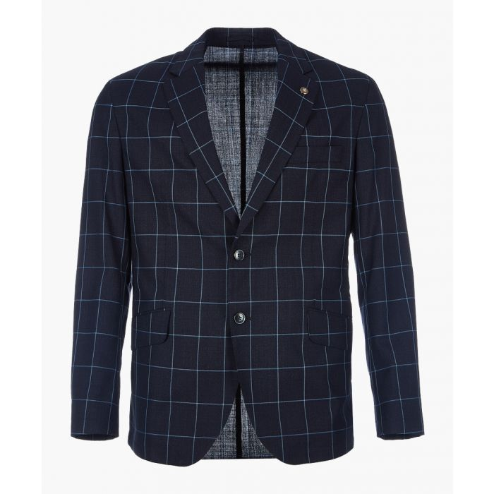 Image for Deep navy pure wool checked blazer