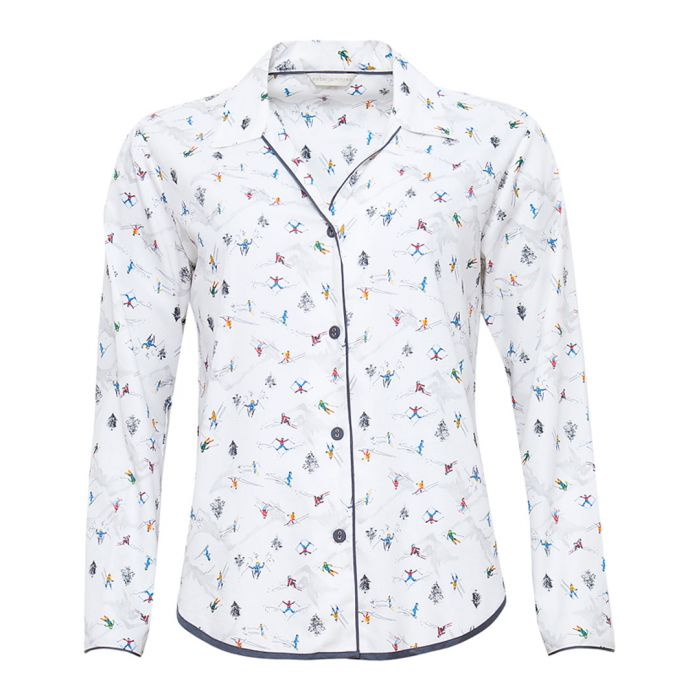 Image for Aspen white ski printed pyjama top