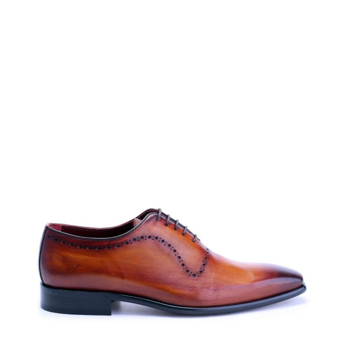 Image for Tan perforated leather oxford shoes