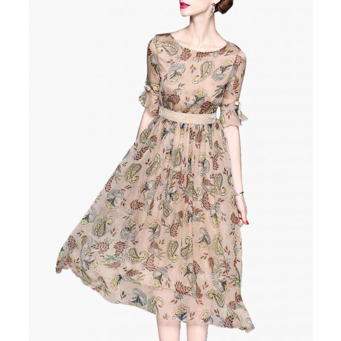 Image for Apricot paisley leaf print midi dress