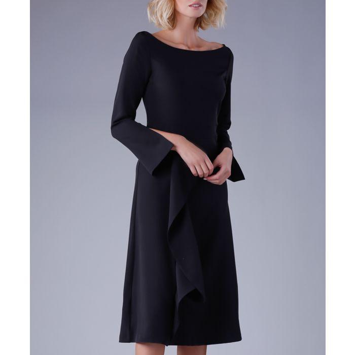 Image for Black split-sleeve ruffle dress