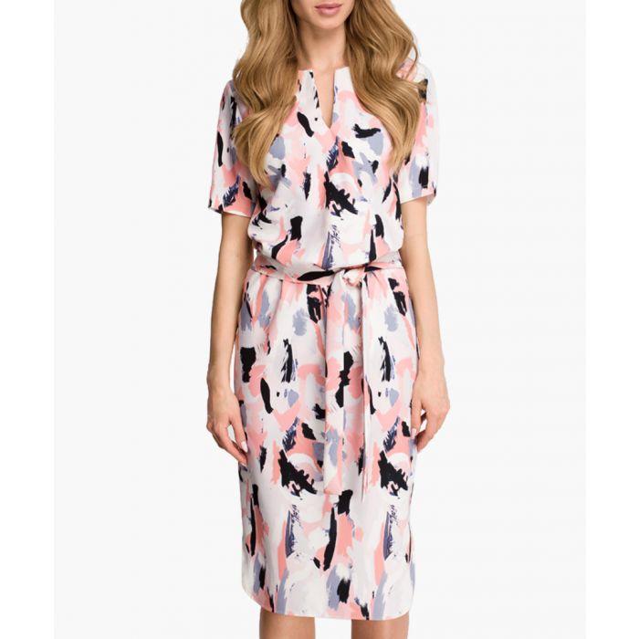 Image for Peach scatter short sleeve dress