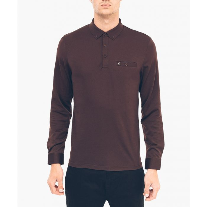Image for Espresso cotton blend long sleeved polo shirt