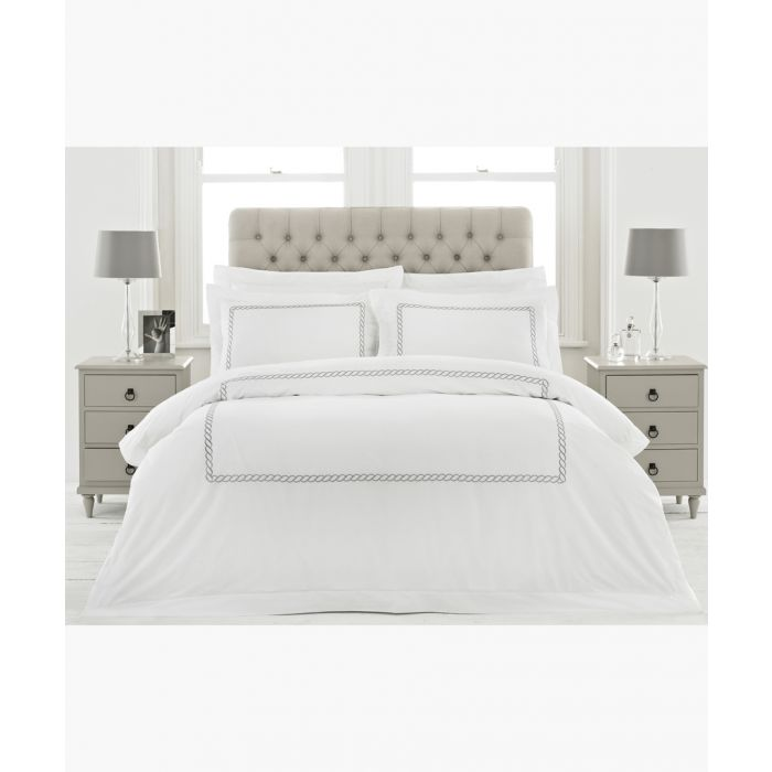 Image for Cleopatra silver-tone cotton superking duvet cover set