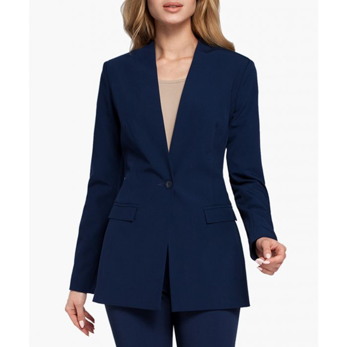 Image for Navy Blue Woven Blazer