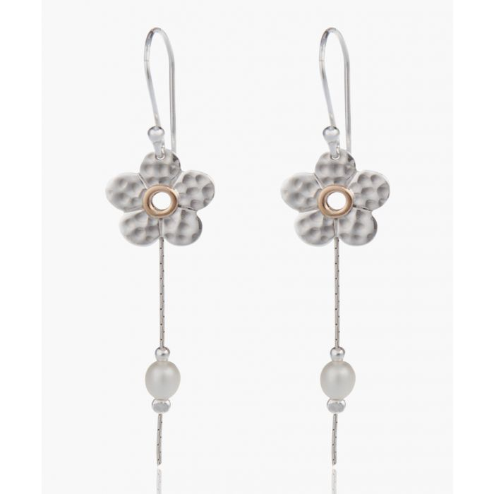 Image for Dual-tone pearl flower drop earrings