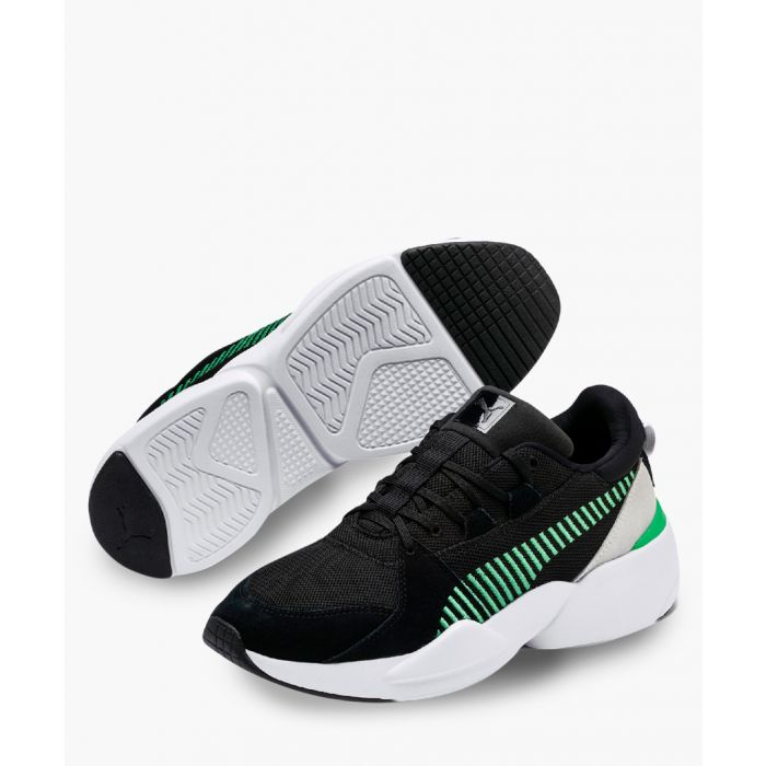 Image for Zeta black and green suede trainers
