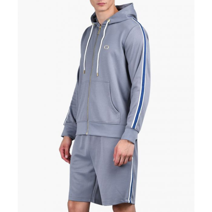 Image for Grey stripe sleeve detail hoodie