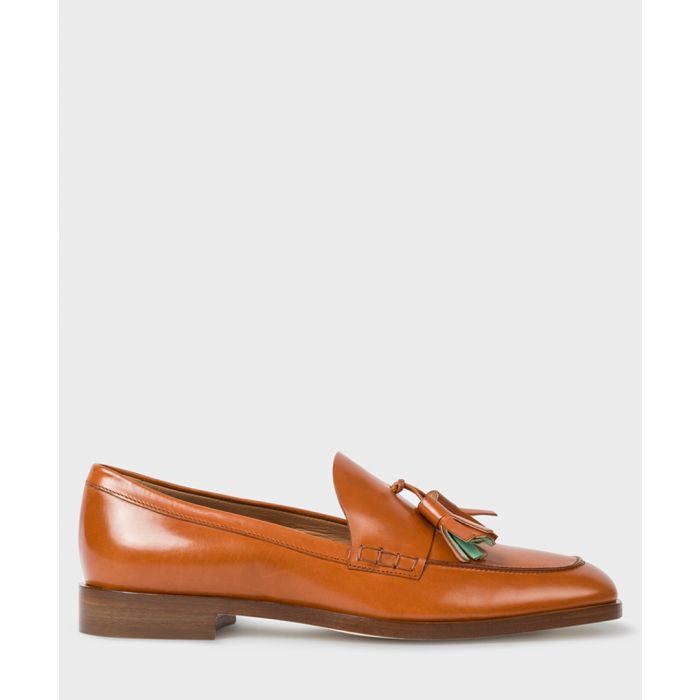 Image for Tan leather tassel loafers
