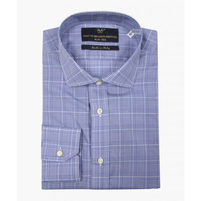 Image for Blue cotton check shirt