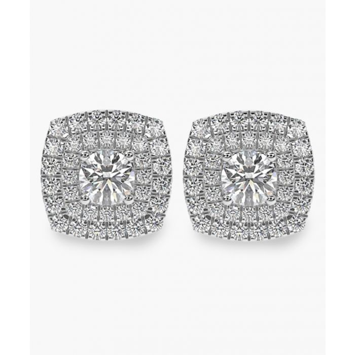 Image for White gold 0.60ct diamond halo earrings