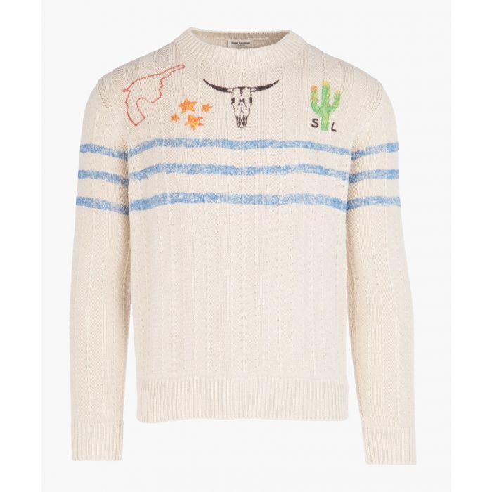Image for Printed cotton-linen blend knit jumper