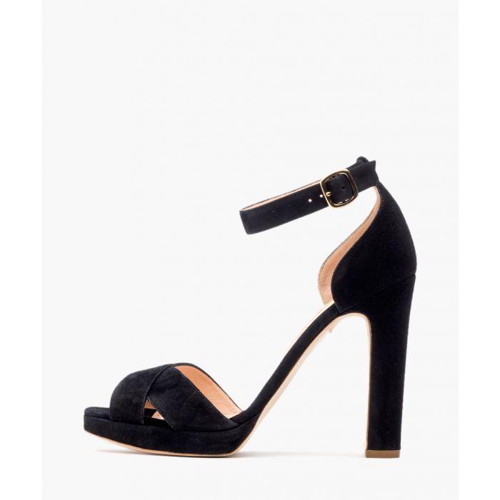 Image for Meadow black suede cross-over platform heeled sandals