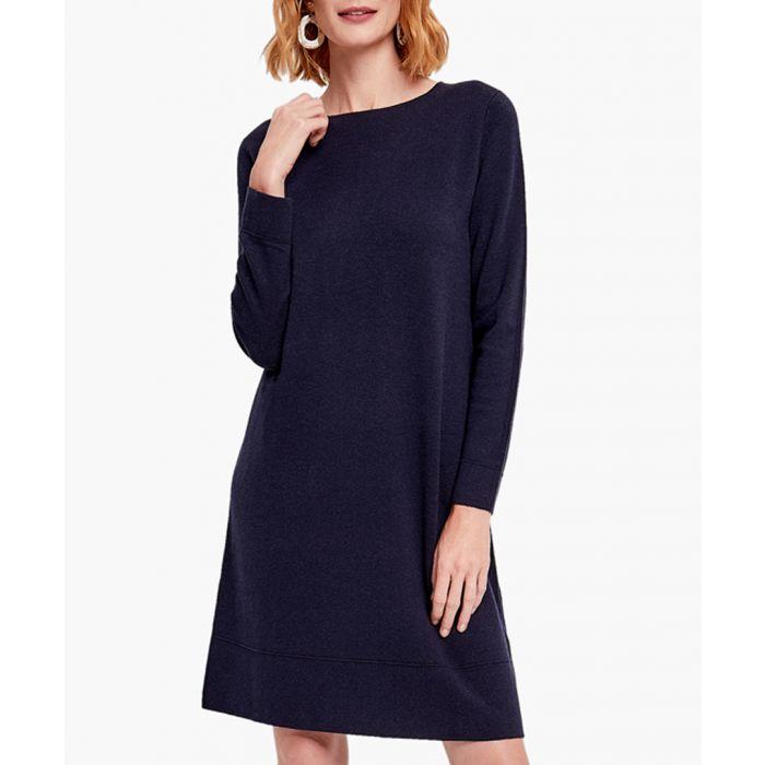 Image for Navy cashmere blend dress