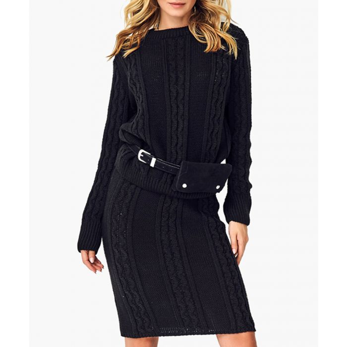Image for Black knitted sweater and skirt set