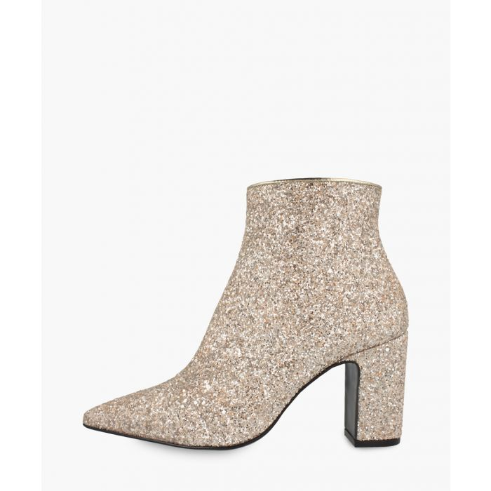 Image for Nude leather glittered ankle boots
