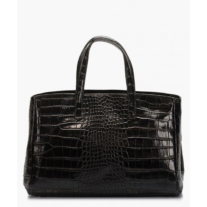 Image for Black moc-croc leather top handles bag