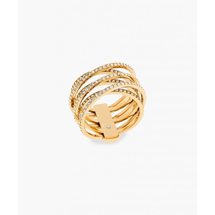 Image for 14ct gold-platedstainless steel and cubic zircona ring ring