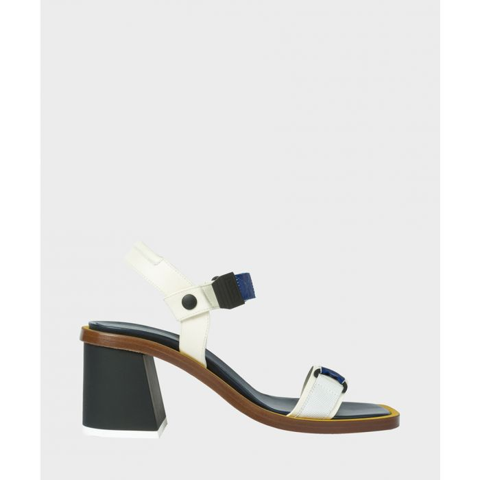 Image for White leather block heels