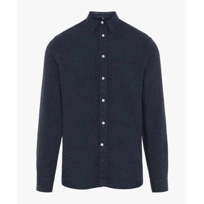 Image for Daniel navy pure linen button-up shirt