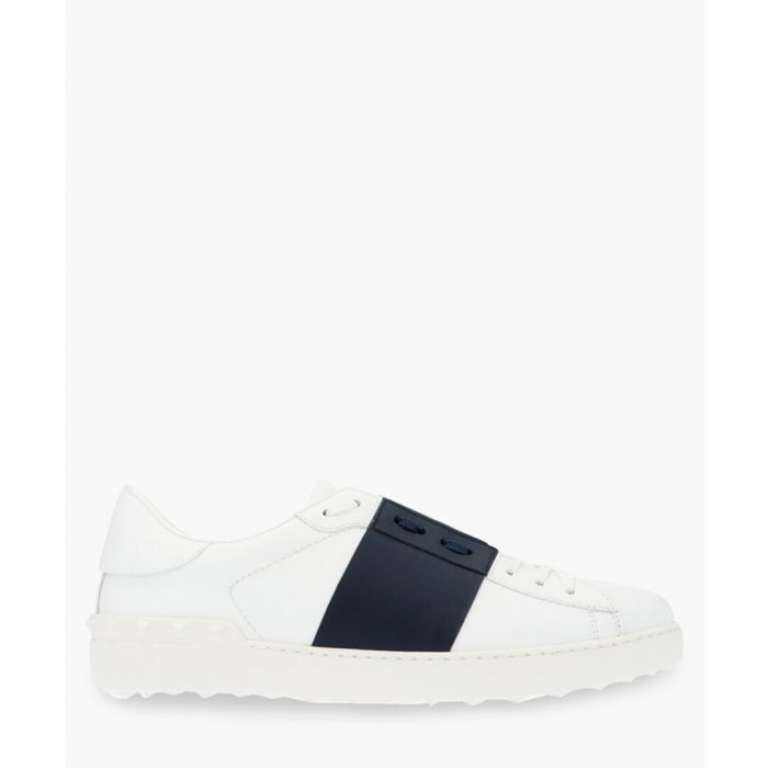 Image for Open white and navy blue leather trainers