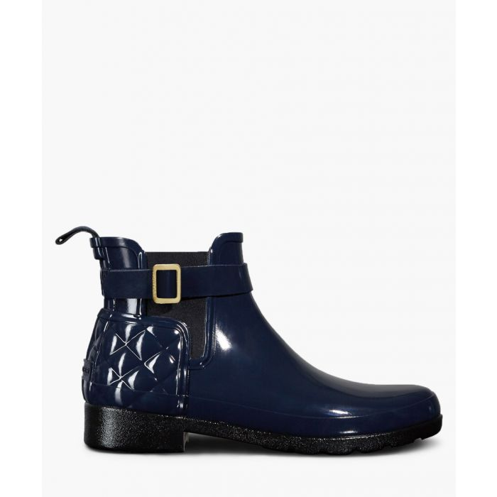 Image for Navy glossy quilted ankle boots