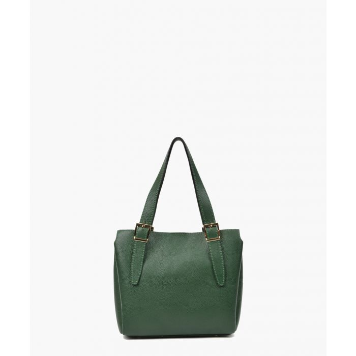 Image for Green leather shopper