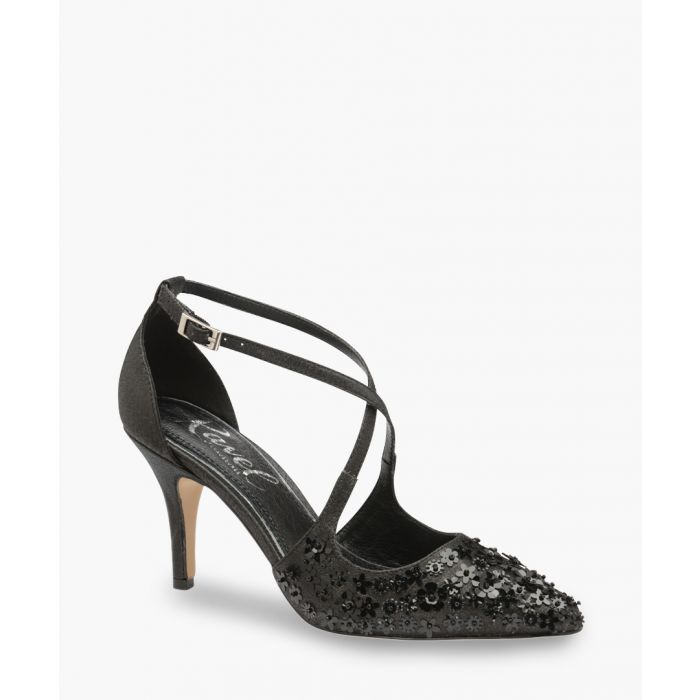 Image for Black floral sparkle heels