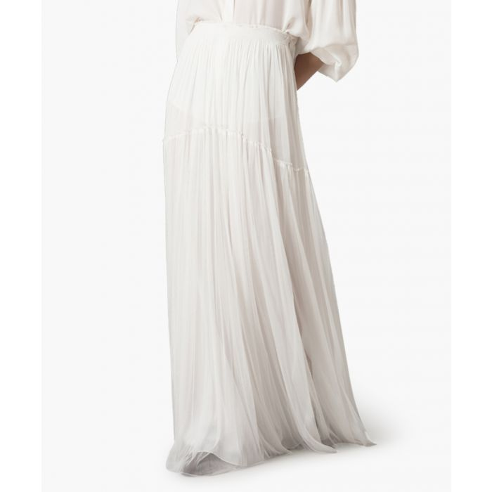 Image for White pure silk tulle maxi skirt