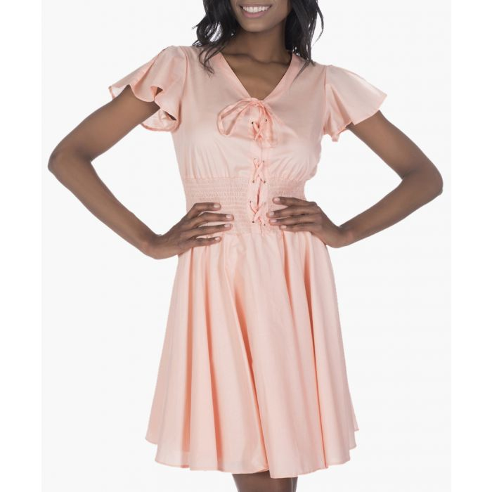 Image for Peach pure cotton corset dress
