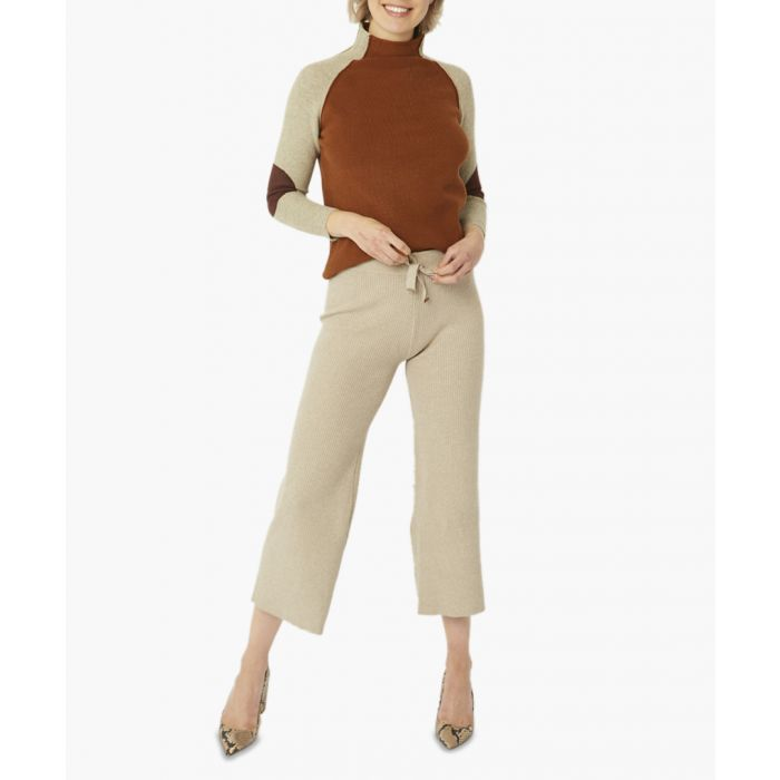 Image for Camel wool blend knitted trousers