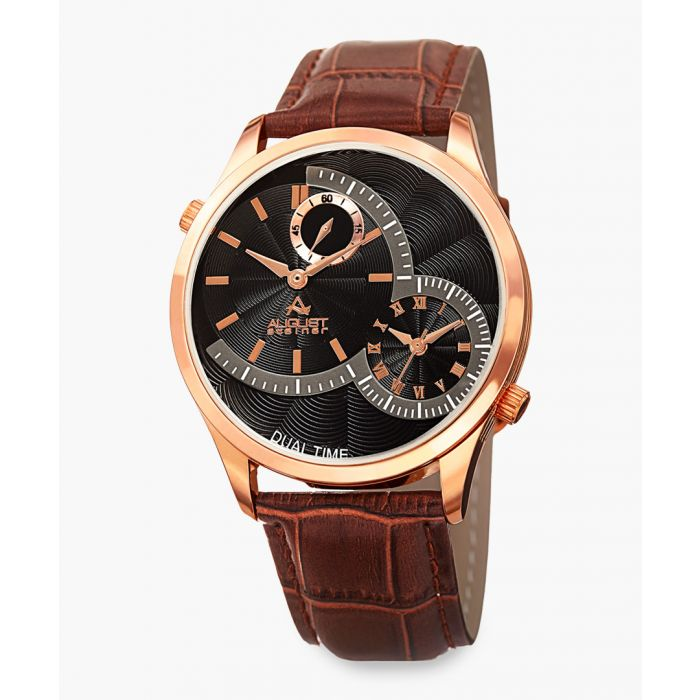 Image for Gold-tone stainless steel and leather watch