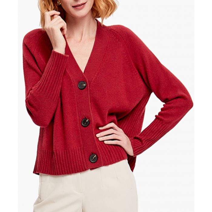 Image for Red merino wool blend cardigan