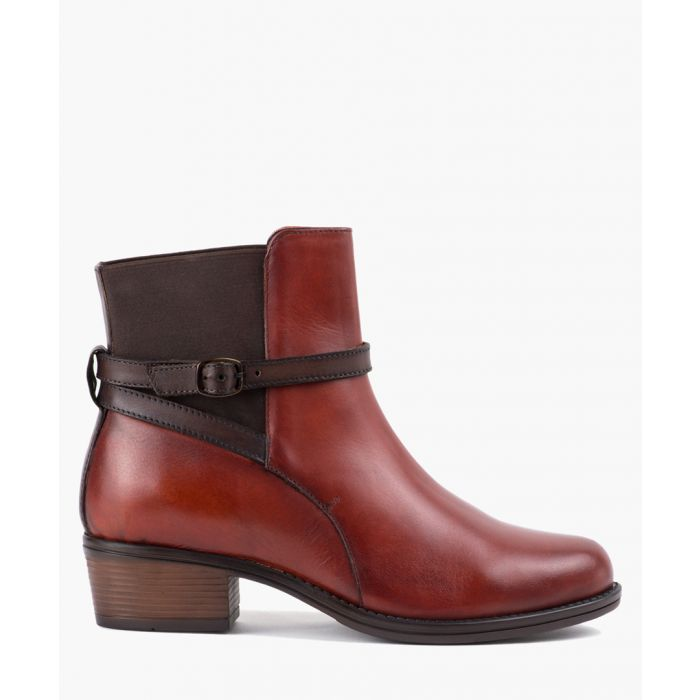 Image for Black leather strap ankle boots