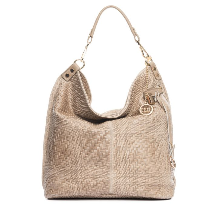Image for Taupe leather braid-effect shoulder bag