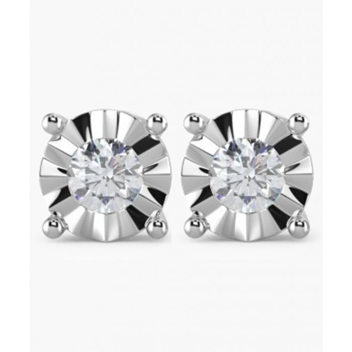 Image for 9k white gold and 0.15ct round diamond earrings