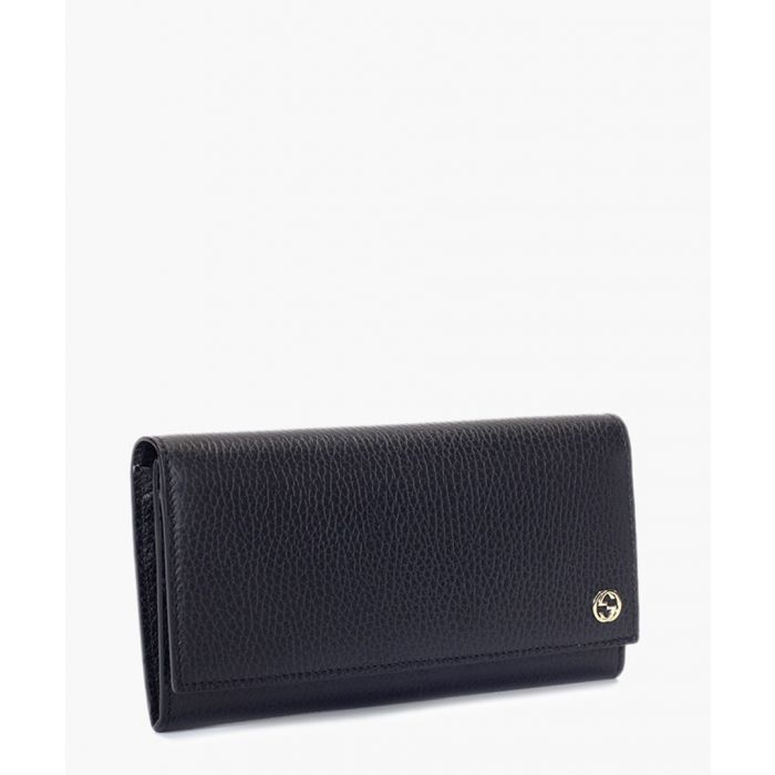 Image for Black leather textured fold purse