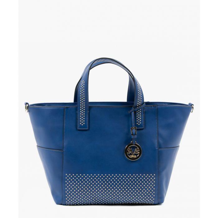 Image for Blue studded shopper bag