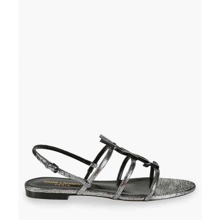 Image for Cassandra silver-tone metallic leather flat sandals