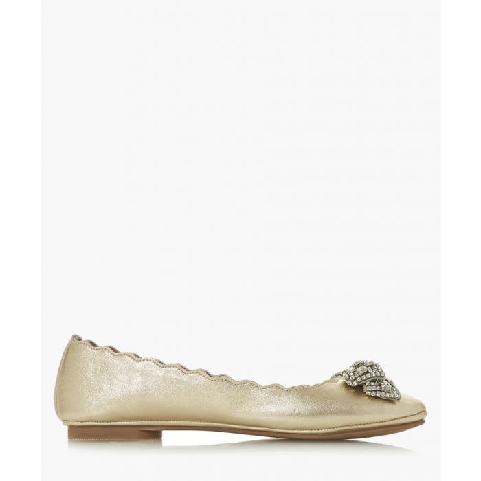 Image for Highlight gold-tone leather ballet pumps