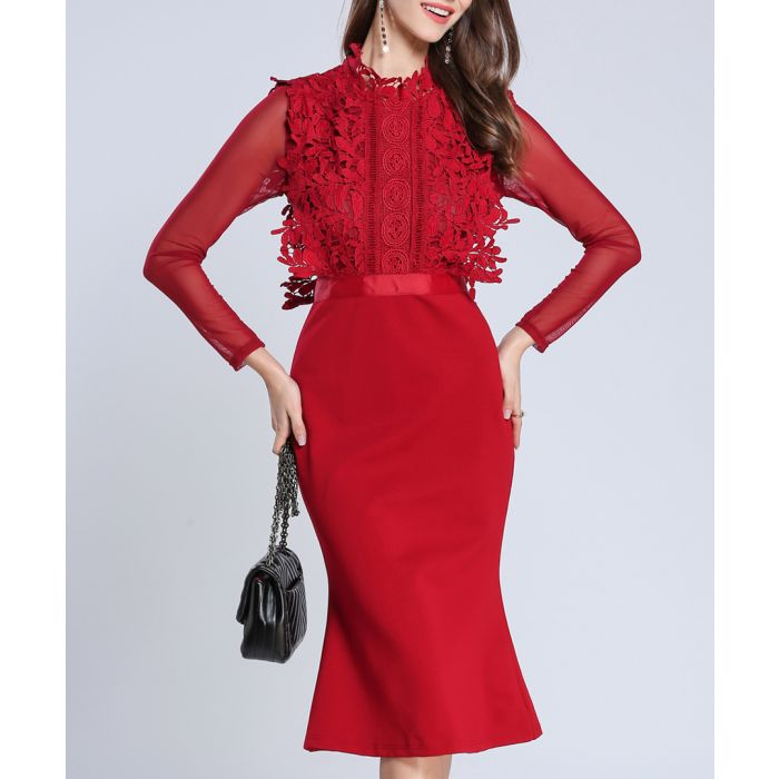 Image for Red detail sheer sleeve fluted dress
