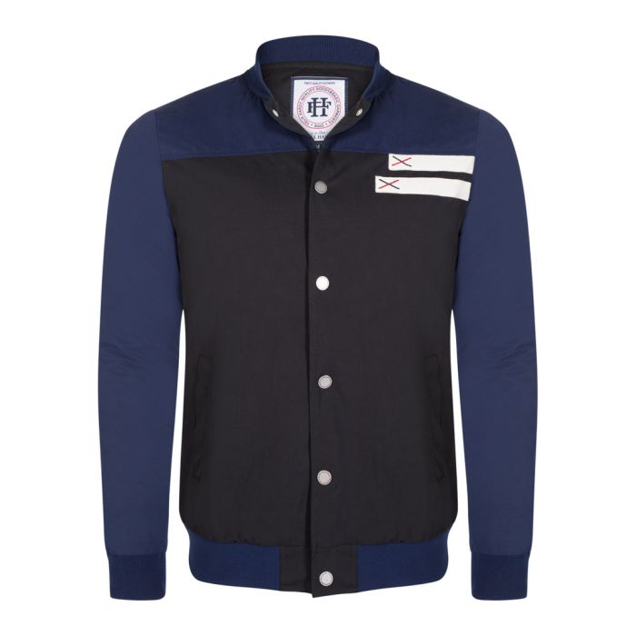 Image for Black & navy cotton blend button jacket
