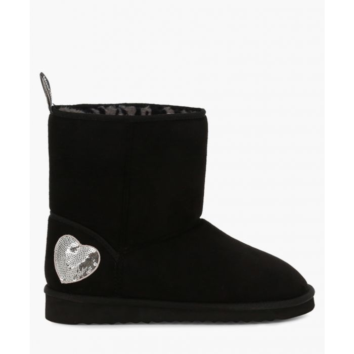 Image for Black and silver sequin heart faux-leather boots