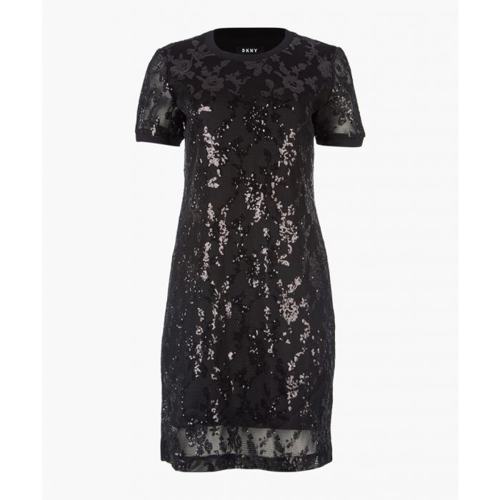 Image for Black short sleeve sequin dress