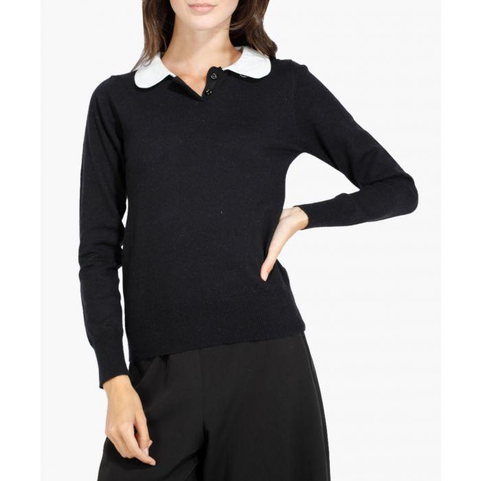 Image for Black and white cashmere blend jumper